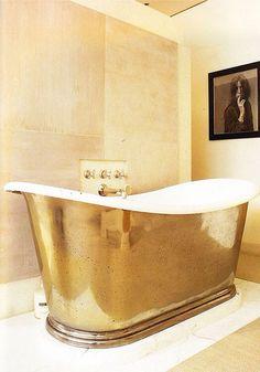 Gold Tub. Xk #kellywearstler #gold #interior #home #design