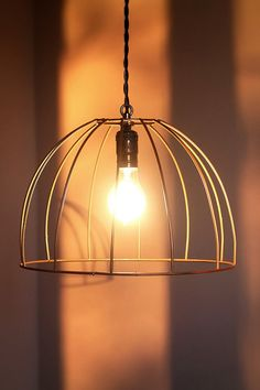 Bird cage style industrial cage light, with vintage twisted wire, FREE shipping