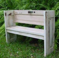 garden bench made from repurposed door...