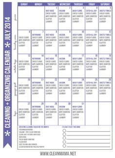Feel like you are drowning in trying to keep your house clean? Implement this proven method with this FREE printable!  Cleaning + Organizing Calendar for JULY via Clean Mama