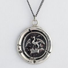 Dragon in Crown Wax Seal Necklace