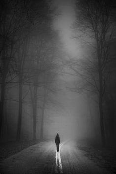 . haunt, dark road, solitud, white, path, dark art, eeri photographi, black, roads