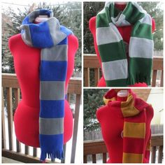 Simple Double-layered Hogwarts Fleece Scarves (with tutorial) by graverobbergirl