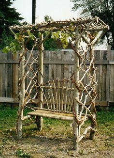 rustic garden bench trellis plant, rustic gardens, yard, garden seats, garden benches, arbor, branch, pergola, bench trelli