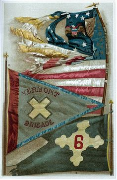 Flags included on plate:  1. Eleventh Regt Conn. Volunteers 2. Headquarter Guidon Old Vermont Brigade  3. Gen. Sedgwick's 6th Corps Headquarters Flag