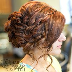 Waterfall braid side updo.
