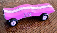 Girls Best Bling Car Design idea, pink cars, awana grand, derbi car, pinewood derbi, pinewood derby, pinewood car, bling car, design