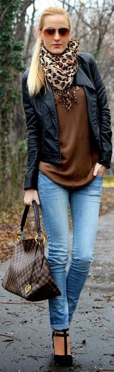 Fall / winter - street chic style - brown sweater + black leather jacket + leopard print scarf + brown bag heels