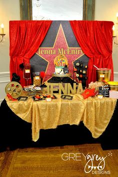 GreyGrey Designs: {My Parties} Jenna's Red Carpet Hollywood Birthday Party: The Food Table food tables, hollywood glamour, birthday parties, red carpets, hollywood party, red carpet party, graduation parties, hollywood parti, movie party
