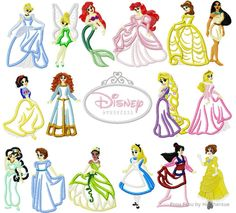 Full Body Princesses SEVENTEEN Design SET Machine Applique Embroidery Design, Multiple sizes including 4 inch. $45.00, via Etsy.
