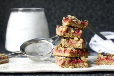 strawberry rhubarb breakfast crisp bars by smitten, via Flickr