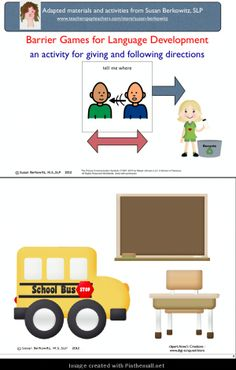 Barrier games are great for developing #expressivelanguage skills. Great for #Speech-language-therapy. There are 2 school related scenes, lots of images to use. See all my barrier games sets. $: http://www.teacherspayteachers.com/Product/Barrier-Games-for-Language-Development-1-speech-therapy-NEW-white-pages-481162