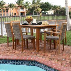 Panama Jack Leeward Islands Patio Dining Set - Natural Teak with Viro Wicker - Seats 6 - Patio Dining Sets at Hayneedle