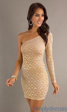 Short One Sleeve Dress, Metallic Cocktail Dress - Simply Dresses