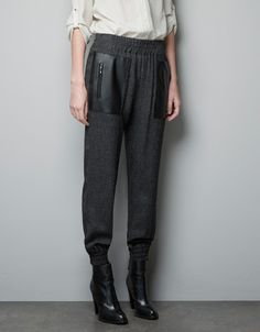crop pant, contrast leather, leather pocket, cloth, elast waistband, fashion blogs, grey elast, pocket pant, herringbon trouser