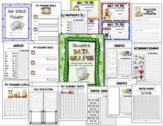 """Sample pages from """"Student Data Graphs"""" - - Empower young children by allowing them to keep some of their own data in """"Data Notebooks.""""  Click on link.  $6.00  http://www.teacherspayteachers.com/Product/Student-Data-Graphs-Goal-Setting-and-Self-Reflection-Sheets-K-2"""