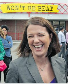 Confident? Danielle smith campaigning on the last day before the vote.