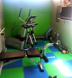 Home gym idea with soft flooring!