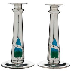 enamel candlestick, candlesticks, silver enamel, candlestick london, london 1909, nouveau silver, art deco, art nouveau, enamels