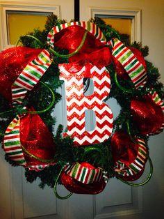 christmas wreaths, christma wreath, christma decor, monogram christma