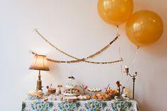 dessert tables, paper garlands, parisian bridal, dessert party, balloon, gold dessert, bridal table, parti, bridal showers