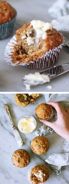 My favorite banana bread in portable muffin form with the addition of toasted coconut on foodiecrush.com #muffin #breakfast #recipe