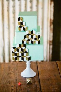 geometric cake - fabulous for a modern or urban wedding.