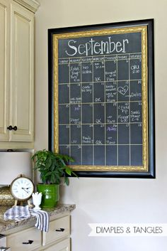 Dimples and Tangles: DIY OVERSIZED CHALKBOARD CALENDAR