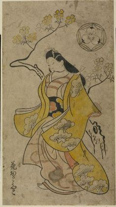 Hishikawa Morofusa, Courtesan Walking by Cherry Trees, Japanese, Edo period, 1700, Harvard Art Museums/Arthur M. Sackler Museum.