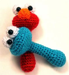 Elmo Baby Rattle Sesame Street Crochet. ***Do stitched eyes for small babies***