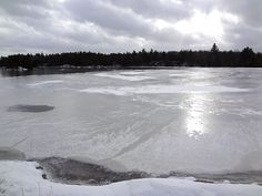 A view of #Yawgoog Pond from Hemlock Ledge on January 25, 2014; on the Yellow and Narragansett Trails.  Image by Nancy G. of the Rhode Island Hiking Club.