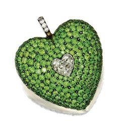 DEMANTOID GARNET AND DIAMOND HEART PENDANT - Sotheby's