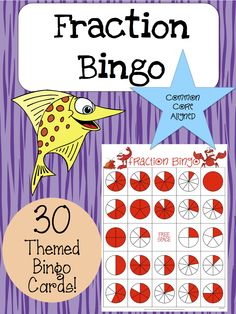 Fraction Bingo. 30 randomized and themed bingo cards covering fractions from 1/1 to 10/10. REPIN ME PLEASE!