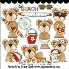 Beach Bears 1 Clip Art - Original Artwork by Trina Clark