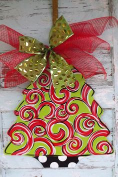 doors, christmas wreaths, painted door hangers, christma door, hanger christma, christmas door hangers, christma tree, tree door, christmas trees