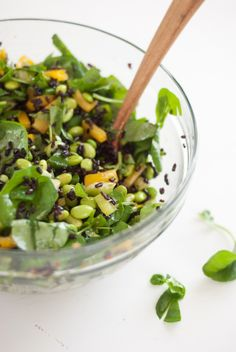 Watercress and Wild Rice Salad (with edamame, celery, bell pepper and ginger vinaigrette!)