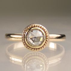 Granulated Rose Cut Moissanite Engagement Ring - 14k Gold. $598.00, via Etsy.