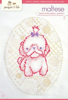 Maltese puppy hand embroidery pattern  PDF by penguinandfish, $6.00