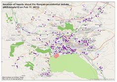mapping tweets about the Kenyan presidential debate