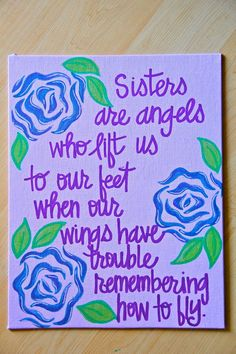 Sisters are angels... Canvas Painting 11X14 by graceelliott10, $30.00