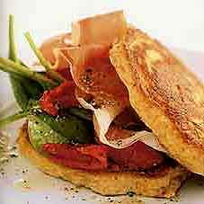 Corn Cakes with Proscuitto Salad