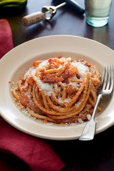 Hello, dreamy winter meal. Kristina's recipe for bucatini all'amatriciana is quintessential comfort food #recipe #comfortfood #food #bucatini #dinner #entree #italian #designsponge #italy #recipes #all'amatriciana