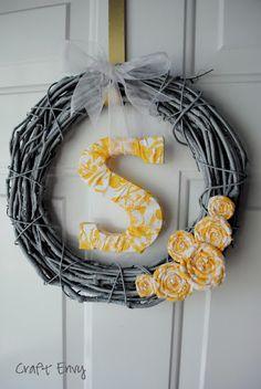 craft envi, the doors, fabric flowers, monogram, front doors, easter wreaths, initi wreath, craft night, simpl initi