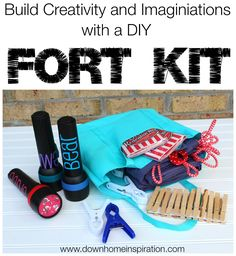 Love this for the kids for summer and it's all from the dollar store! Build a fun Summer with a DIY Fort Kit - Down Home Inspiration