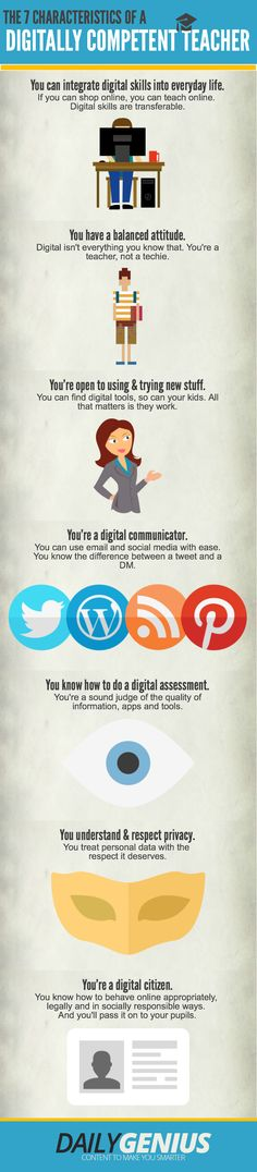 The 7 Characteristics of a Digitally Competent Teacher #infographic #tlchat #tlelem #edchat #edtech #nced