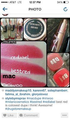 Lip dupes - milani for MAC ririwoo