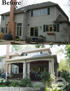 The goal of this back porch addition was to extend the entertainment space of the home, with multiple seating areas and a cozy and rustic style to it.  This porch had heaters installed in the ceiling, giving it an annual life of approximately eight months. Before and After of a porch created by Normandy Designer Leslie Lee.