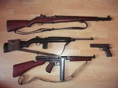 Some weapons that were used in Normandy:1-Garand 30 M1.1-  M1.  1-Thompson M1A1.  1- Colt 45 Remington