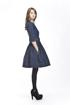 Custom Made Navy Blue Denim Dress