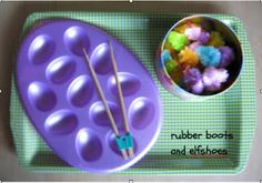 A dollar store egg tray, fuzzy chicks (6 colours, 2 sizes - 24 chicks in all) and chopsticks make a fine motor, sorting, patterning, and design activity.